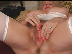 Full-grown Granny Busty Plays Everywhere Her Hairy Pussy