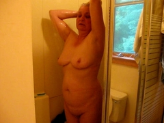 wife taking a shower
