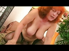 Redhead Granny adjacent to Stockings Sucks and Fucks