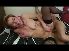 Nice Nipples Granny in Stockings Fucks