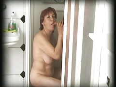 hairy granny finds a man with her shower