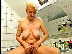 Old Blonde Granny Recreation in an obstacle Wash up b purge