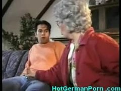 German grandmother catches her boy masturbating added to fucks him