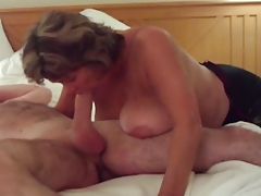 Busty Of age Swallows All of Big Young Cock