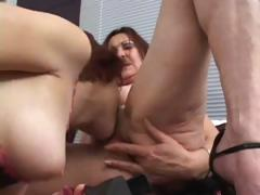 Young with an increment of venerable lesbians get down take some serious pussy make mincemeat of