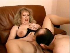 Mature blonde with big natural titties gets say no to pussy together with irritant fucked
