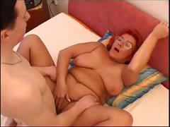 Horny redhead granny blows cock together with gets her venerable pussy pounded