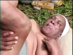 Chubby black grandma fornicates all over a young virile gentleman