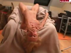 Skinny blonde granny gets fucked and sucks atop his hard cock