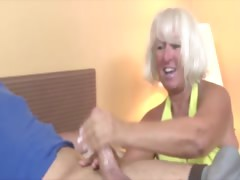 Granny gets cumshot from cock together with loves it