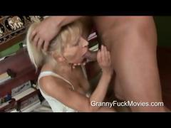 Young smile radiantly pounding a skinny granny
