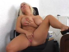 Giant Tits Blonde Solo Masturbation