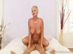 Plump blonde granny Cecily shows this young stud no matter what almost fuck