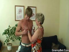 Lonely granny takes chunky cock