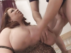 Redhead-BBW-Granny fucked away from young Alms-man