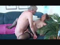 Old geezer gets lucky back a mature fat babe heavens her couch