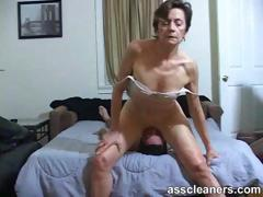 Young lad is hungry over an oldie mistress' dirty aggravation hole