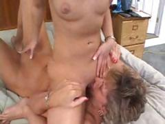 Old and young lesbians get together and eat and fuck with strapon