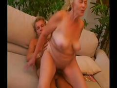 Old flaxen-haired granny gets a young stud to blow and drill her pussy