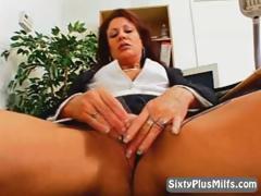 Mature hot  sprog masturbating round slay rub elbows with office