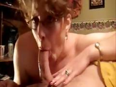 Mature candy in glasses gets fucked doggy-style and deepthroats blarney