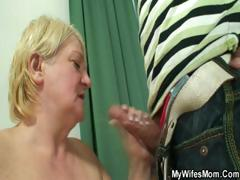MILF blonde with mountainous let up on b slow down breasts gets caught masturbating and gets some