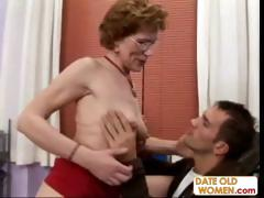 Old brunette granny talks will not hear of way into his office to fuck him