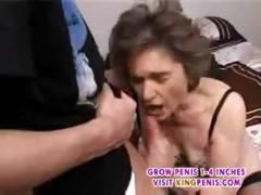 Grey Hairy Granny in Stockings Fingered Drag inflate and Roger Part2
