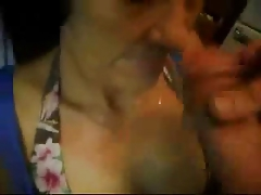 Great facial on nasty granny. Thorough amateur older