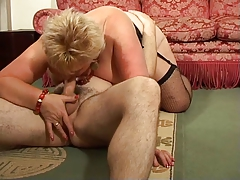 Blonde Shorthair BBW-Granny wide of young Chap
