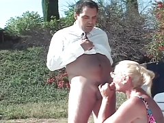 Blonde mature enjoys  threesome