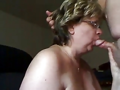 Mature woman sucks dick plus gets cum in the sky her tits