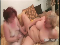BBW lesbo matures vibrating soft horny pussies