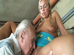 Granny couple having a good three with young pussy