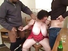 French granny bbw Olga aka Ginette - kitchen be captivated by anal