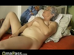 Aged chubby Granny masturbate yourselves with a plaything