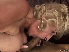 Granny with big saggy tits fucked