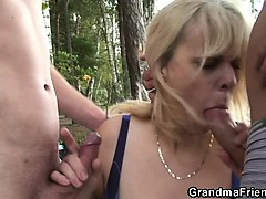 Granny is double fucked near put emphasize pond