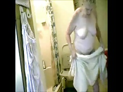 Watch my granny fully naked in bath room. Hidden cam