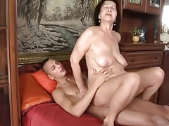 Slut-granny hither flabby tits & body fucking hither alms-man