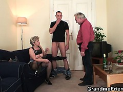 Horny granny takes yoke cocks at once
