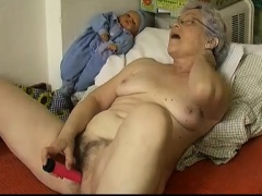 Horny Old chubby Granny Masturbating not far from dildo