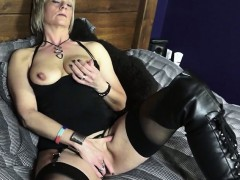 mature british woman in boots bringing off