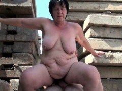 BBW grandma sedate enjoys grandpa\'s tiny dig up