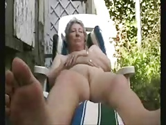 Granny having pastime in district yerd. Unskilled older