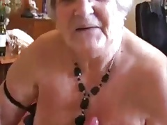 Handjob excited grandmother (ejaculation on tits)