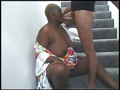 BBW BLACK GRANNY WITH FAT ASS FUCKED Round Chum around with annoy STAIRS