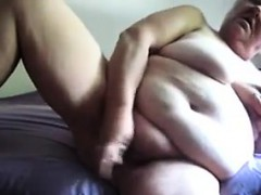 Chubby Granny Masturbating With A Dildo
