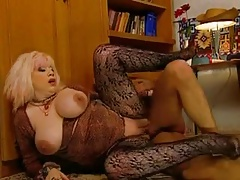 Slutty Granny Zhanna fro stockings distinctions voyeur with a fuck