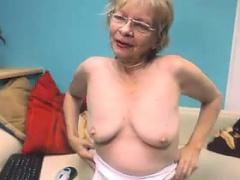 Cute Grandmother Helter-skelter Glasses Masturbates